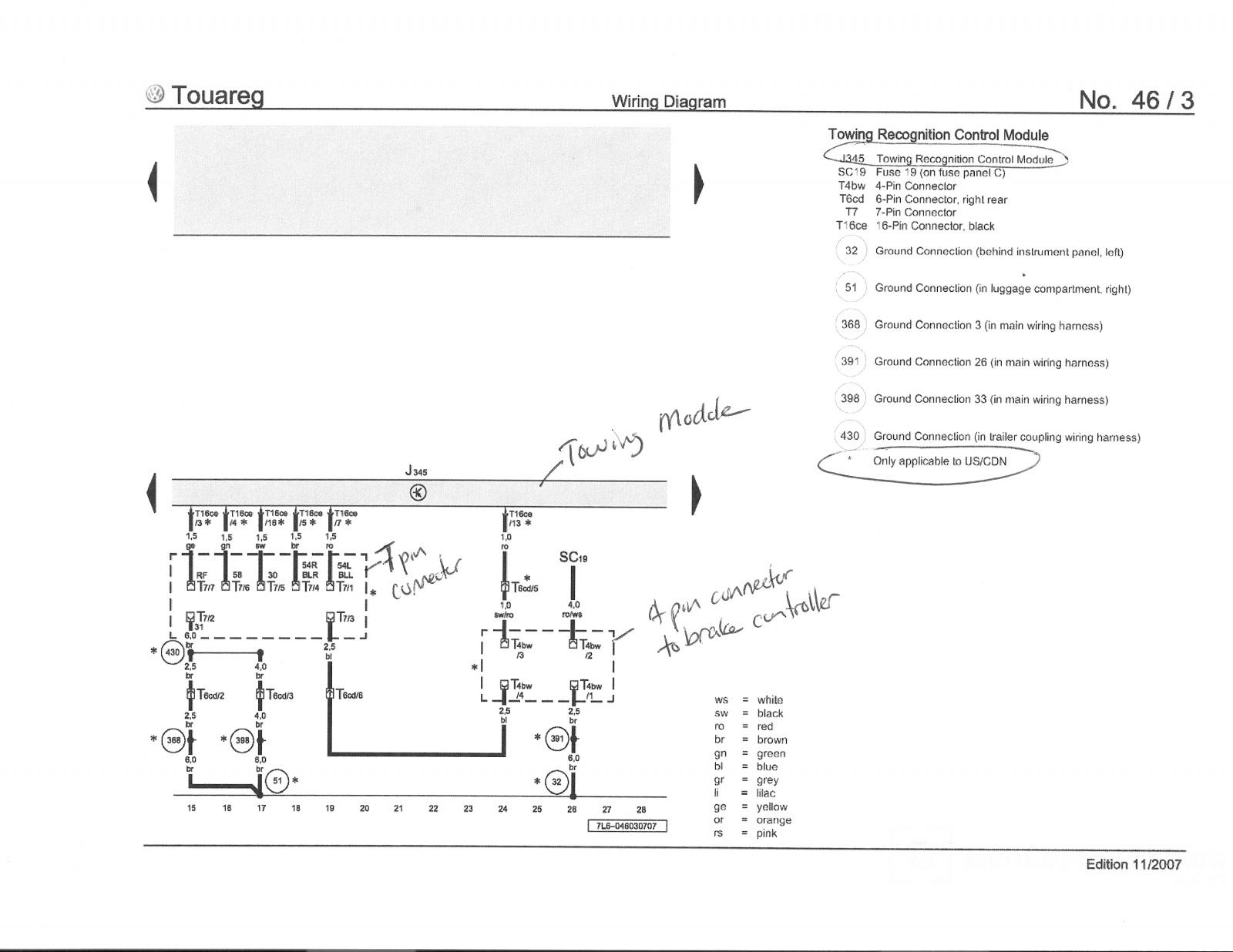 Wiring Diagram For Tow Bar Electrics Modern Design Of Towbar 7 Pin Touareg Gallery Trailer Brake Force